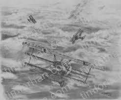 red baron airplane pencil drawing ac 002
