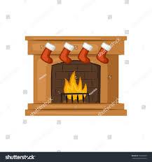christmas fireplace red stockings cartoon icon stock vector