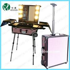 makeup luggage with lights makeup case with mirror portable makeup train case with mirror