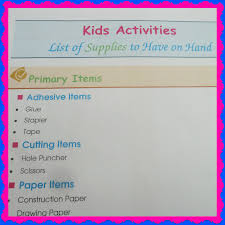kids crafts u0026 activities supplies list with a free printable u2013 at