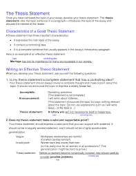 example of a thesis statement for an essay writing a good thesis