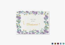 bridesmaid invitations template garden wedding will you be my bridesmaid card template in psd