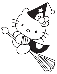 witch halloween coloring pages kitty hallowen coloring