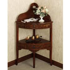 small corner accent table amazing brown varnished oak corner accent console table with drawers