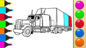 tractor trailer coloring pages how to draw a truck or tractor trailer art colors for children
