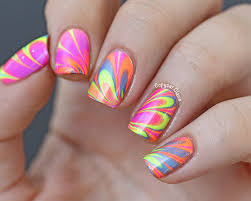 charming water marble nail art patterns with beautiful blue white