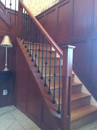 box stairs shaker posts new railing metal spindles installed in Box Stairs Design