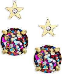 glitter stud earrings lyst kate spade new york gold tone and glitter stud