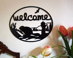 Welcome Home Decor Welcome Sign Beaver Sign Welcome Sign Metal Metal Wall Art