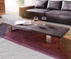 Wohnzimmertisch Niedrig Couchtisch Live Edge 165x60 Akazie Tabak 4 Metallfüße Möbel Tische