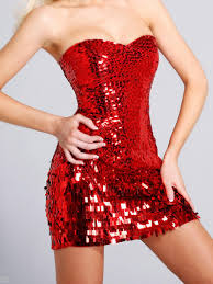 luxury strapless short sheath red sequined backless cocktail party