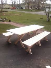 Traditional Octagon Picnic Table Plans Pattern How To Build A by Cross Leg X Leg Picnic Table And Benches In Golden Oak Making Or