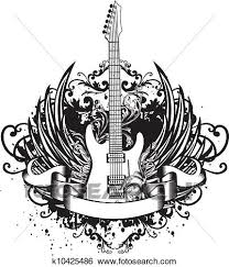 clip of guitar with wings patterns k10425486 search clipart