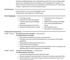 resume examples for medical assistant sample medical assistant