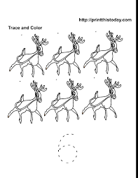 six reindeer to color and number 6 tracer