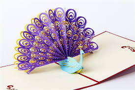 paper greeting cards korean handmade paper carving creative 3d animals peacock pop