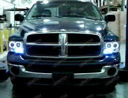 02 05 dodge ram chrome housing dual halo projector led headlights