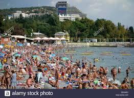 russian beaches people at public bathing beach in kressbronn lake constance stock