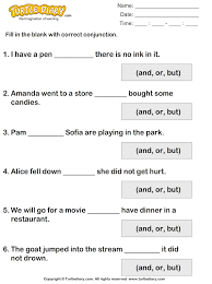 complete each sentence using but or and worksheet turtle diary