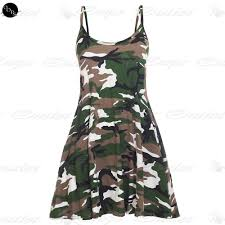 Womens Military Vest Womens Strappy Sleeveless Ladies Printed Flared Vest Swing Dress