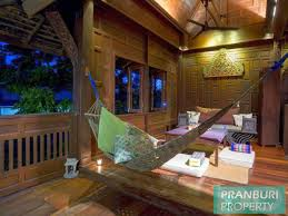 traditional thai teak wood house to rent on beach resort with