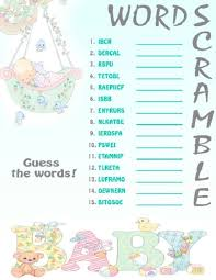 baby shower printable games
