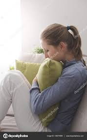 lonely depressed woman at home u2014 stock photo stokkete 136273636
