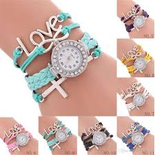 bracelet sets images Weave rope leather wrist watch charm bracelet sets for women jpg