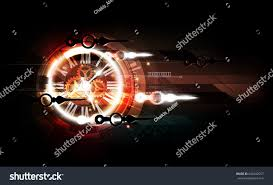 red abstract futuristic technology background clock stock vector