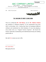 letter of certification of employment template to whomsoever it may concern experience certificate format
