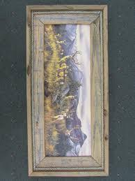 rustic framed print mule deer sisters log furniture