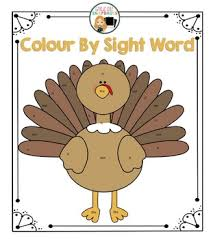 thanksgiving turkey color by sight word printable by grade one