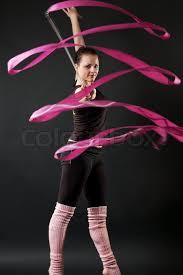 ribbon dancer beautiful dancer with pink ribbon stock photo colourbox