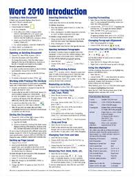 microsoft word 2010 introduction quick reference guide cheat