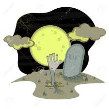 halloween drawing night full moon sky a graveyard landscape