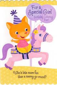coloring birthday cards birthday carousel coloring birthday card greeting cards