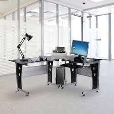 metal computer desks workstations high gloss black glass table top metal frame computer pc corner desk