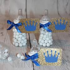 Prince Favors by Prince Baby Bottle Favors In Royal Blue Glitter Gold