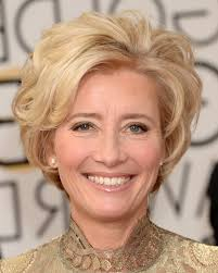 hairstyles with highlights for women over 50 emma thompson short blonde wavy hairstyle for women over 50