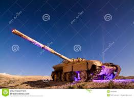 Light Painting Landscape Photography by Light Painted Abandoned Tank Royalty Free Stock Photography