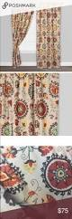 Cotton Drapery Panels Gold And Red Suzani Cotton Curtains Set Of 2 Cotton Curtains