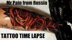 red roses tattoo time lapse youtube
