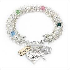 family bracelets birthstone charm bracelets with 4 charms and birthstones