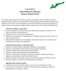 Sample Resume For Business Manager by Position Available Fi Business Manager U2013 Fishersisland Net