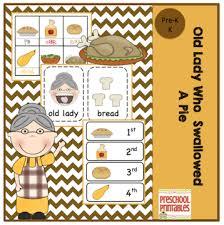 preschool printables who swallowed a pie thanksgiving