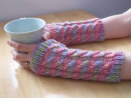 balls to the walls knits twilled stripe arm warmers