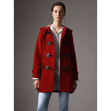 the mersey duffle coat in parade red women burberry united states