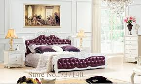 solid wood and leather bed bedroom furniture baroque bedroom set