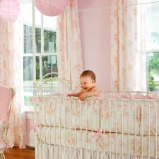 Truly Scrumptious Crib Bedding Shabby Chenille Crib Bedding Pink Floral Baby Carousel