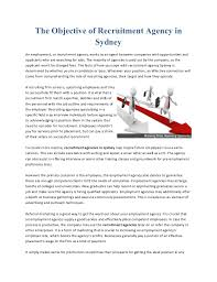 the objective of recruitment agency in sydney